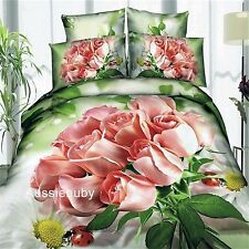 3D Bedding Quilt Doona Duvet Cover Bed Sheet Pillowcase Set -Romantic -Pink Rose