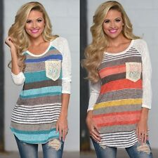 Fashion Womens Casual O-neck Patchwork Long Sleeve Loose Tops Blouse T-Shirt