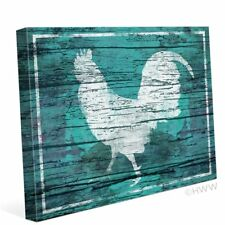 Click Wall Art Distressed Wood Rooster Painting Print on Wrapped Canvas in Blue
