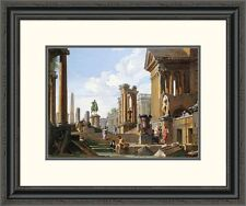 'Capriccio of Classical Ruins' by Giovanni Paolo Pannini Framed Painting Print