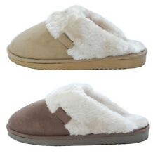Womens Ladies Soft Fluffy Luxury Fur Mules Slippers BROWN TAN Size 3 4 5 6 7 8
