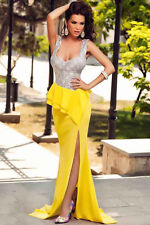 Costly Silver Bust Yellow Skirt Frill Party Prom Evening Dress FU60681 women new