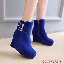 Hot Sale Sweet Women Lady Wedge Heel Platform Ankle BOOTS Shoes Buckle SIZE NEW