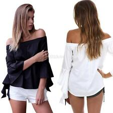 Summer Off Shoulder Shirt Womens Casual Loose T-shirt Tops Long Sleeve Blouse