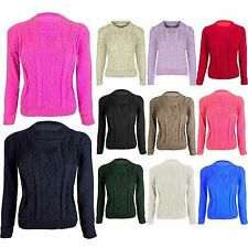 Womens Jumper Sweater Ladies Long Sleeve Crew Round Neck Crop Cable Knitted 8-14