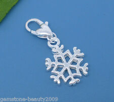 Wholesale HOT Silver Plated Clip Snowflake Charms. Fits Link Chain Bracelet
