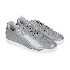 Puma Roma Reflective Mens Silver Synthetic Lace Up Sneakers Shoes