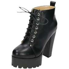 Black Chunky High Heel Platform Goth Punk Lace Up Ankle Boots Combat Military