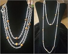 JUDITH RIPKA Sterling Signature Link Tigers Eye Gemstone Bead Necklace 18/36""