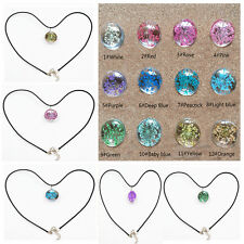 Fashion Glass Ball Necklace Crystal Pendant Chain Dried Real Flowers Jewelry