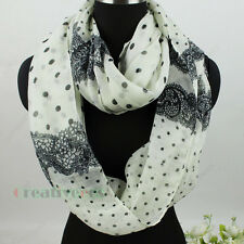 Dot&Lace Print Infinity Loop Cowl Eternity Endless Circle Soft Voile Scarf New