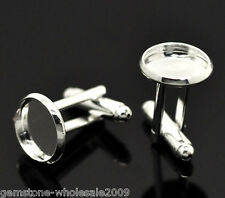 Wholesale Lots Silver Plated Cabochon Setting Cuff Links 26x14mm(Fit 12mm)