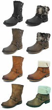 Womens Fold Down Leather Look Fur Lined Biker Ankle Boots Black Brown Tan Sz 3-8