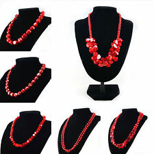 Natural Red Dyed Sea Coral Bead necklace 9 Styles