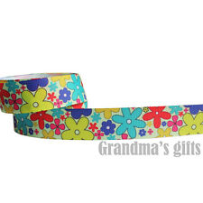 "7/8""22mm Flower Printed grosgrain ribbon 5/50/100 yards hairbow Wholesale"