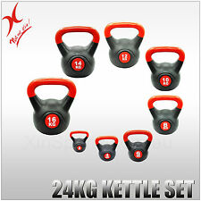 24KG KETTLEBELL WEIGHT SET - HOME GYM TRAINING KETTLE BELL EXERCISE
