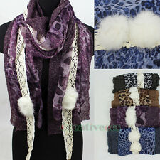 Fashion Women Leoperd Chiffon Lace Floral Trim Rabbit Hair Long Scarf Shawl New