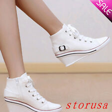 Women High Wedge Heel Casual Canvas Shoes Platform Lace Up Hi Top Sneakers Size