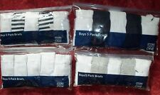 Boys 5 Pack Boys Briefs in White or White + Black or Grey 7-8 or 9-10 years
