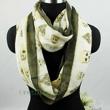 Fashion Skull Spades Clubs Infinity 2Loop Cowl Eternity Endless Casual Scarf New