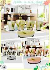 5PCS/Set Bathroom Accessory Resin Soap Dish Dispenser Tumbler Toothbrush Holder