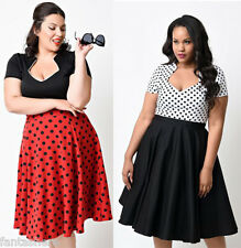 Plus Size Womens Polka Dot Retro Vintage 1950s Rockabilly Housewife Party Dress
