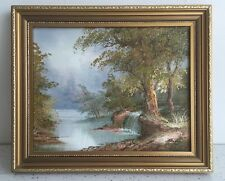 FRAMED OIL PAINTING ON CANVAS LANDSCAPE Waterfall SCENE Signed I Cafieri