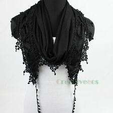 Fashion Women's Floral  Lace Trim Tassel Dot Solid Color Soft Scarf Shawl Wrap