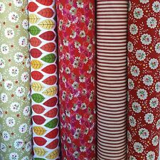 Red Cotton Bundle of 5 or Individual Fat Quarters: Green Leaf Flower Stripe