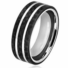 Crucible Men's Stainless Steel Carbon Fiber Silver Striped Comfort Fit Ring - 8m