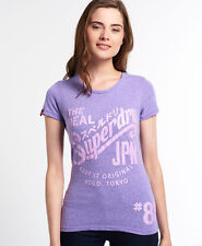 New Womens Superdry Keep It T-shirt Polo Purple