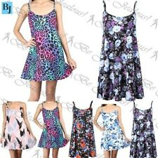 Womens Swing Dress Ladies Plus Size Printed Strappy Sleeveless Flared Vest Top