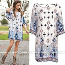 Elegant Women Vintage Geometric Print Dress Bohemia Summer Dress Cocktail Party