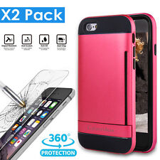 Kick-Stand Hard Case Skin iphone 6 6S 4.7 inch Tempered Real Glass Screen Film