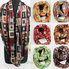 Fashion Colorful Plaids Soft Infinity Polyester 2Loop Cowl Eternity Circle Scarf