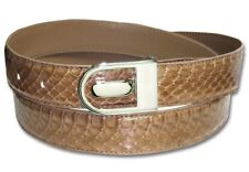 Men's Snake Skin Belt SAND BROWN Genuine SnakeSkin Bonded Leather Belt & Buckle