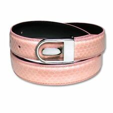 Men's Snake Skin Belt PINK Genuine SnakeSkin Mens Bonded Leather Belt & Buckle