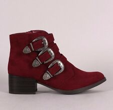 DESIGNER INSPIRED BURGUNDY TRIPLE BUCKLE COWGIRL ANKLE BOOTS