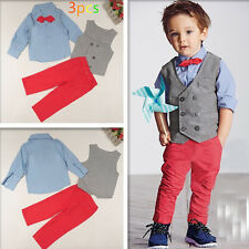 Toddler Baby Outfits Vest Coat+Gentleman Suit Shirt +Pant Boys Weeding Costume