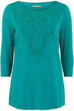 Ann Harvey Womens Green Lace Yoke Top - Up To Size 28