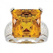 925 Sterling Silver Citrine Cushion Cut Antique Finish Ring