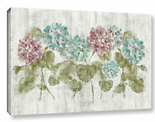 'Vibrant Row of Hydrangea' by Cheri Blum Painting Print on Wrapped Canvas