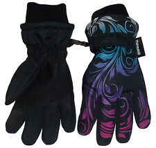NICE CAPS Girls Ombre Shaded Scroll Print Waterproof Snow Gloves