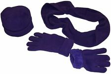 NICE CAPS Womens Ladies 3PC Fully Lined Fleece Hat Gloves Scarf Winter Snow Set