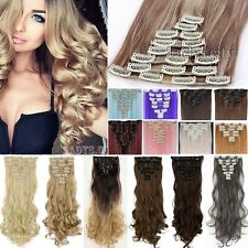 US Long Full Head 8pcs Clip in on Hair Extensions Real thick human synthetic T5A