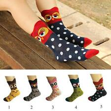 1 Pair Fashion Women Cute Owl Print Casual Girls Cartoon Soft 3D Cotton Socks