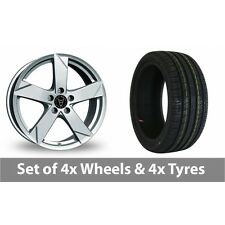 "4 x 15"" Wolfrace Kodiak Polar Silver Alloy Wheel Rims and Tyres -  195/55/15"