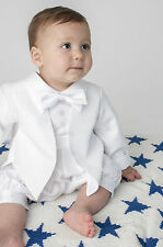 Boys Christening Romper 2 Piece Suit Diamond White or Ivory sizes to 24 Months