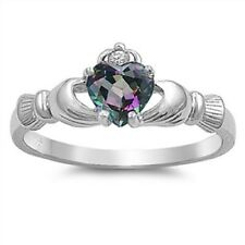 Irish Claddagh Ring 925 Sterling Silver Mystic Rainbow Topaz Heart Promise Ring