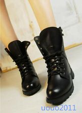 Womens Military Lady Lace Up Ankle Pu Leather Boots Military Army Combat Shoes#